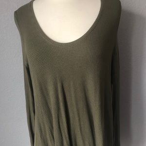 Free People army green thermal with a flowing body